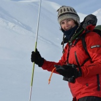 Alex with snow probe near OTC